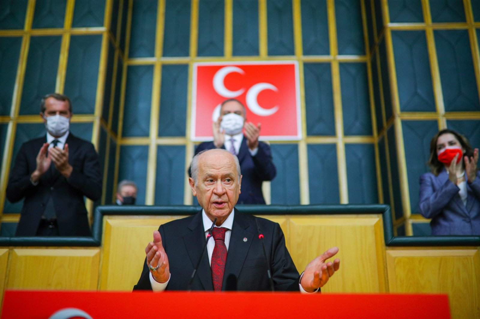 MHP Chairperson Devlet Bahçeli speaks at his party's parliamentary group meeting in the Turkish capital Ankara, June 29, 2021. (Sabah File Photo)