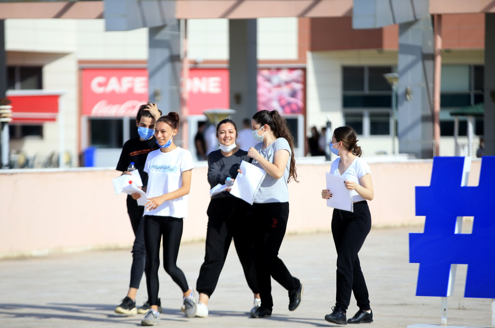 Students leave after taking the Higher Education Institutions Exam (YKS) at a school in Kırklareli, Turkey, June 26, 2021. (AA Photo)