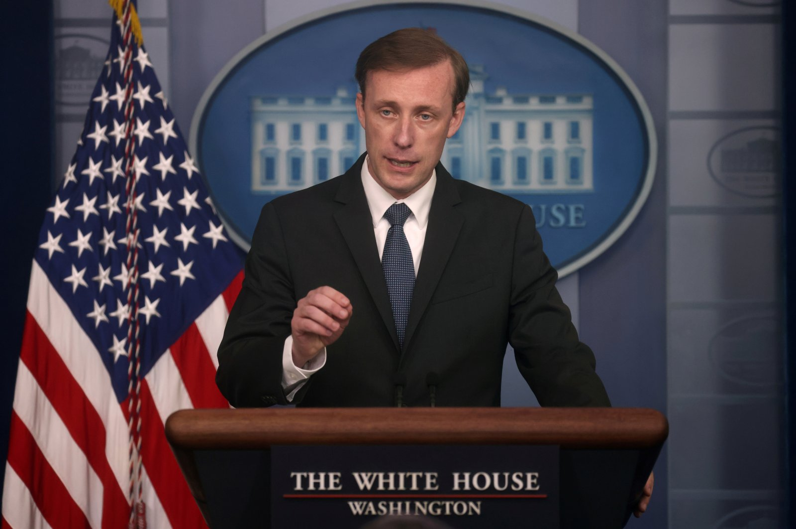 White House National Security Adviser Jake Sullivan takes questions during a press briefing at the White House in Washington, U.S., June 7, 2021. (REUTERS)