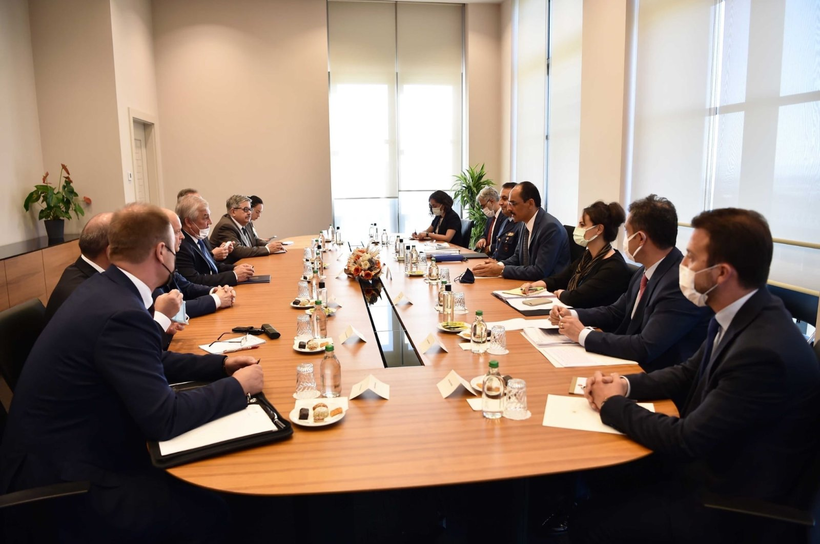 Russian (L) and Turkish delegations attend Syria talks in Ankara, Turkey on Aug. 3, 2021 (AA Photo)