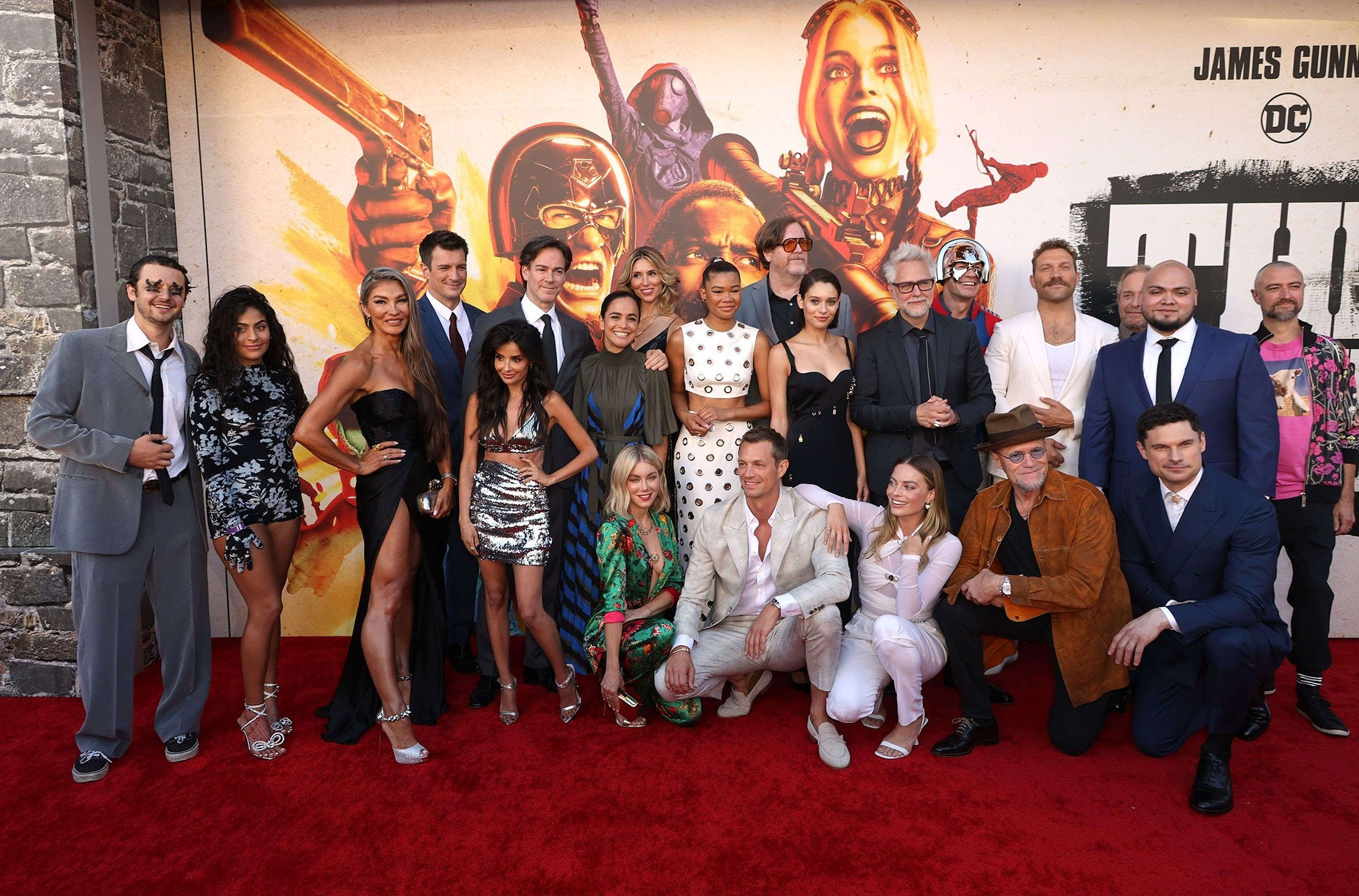 Cast and crew including Nathan Fillion, Storm Reid, Margot Robbie, John Cena, James Gunn, Michael Rooker, Jai Courtney, and Daniela Melchior attend the Warner Bros. premiere of 'The Suicide Squad' at Regency Village Theatre in Los Angeles, California, U.S., Aug. 2, 2021. (AFP Photo)