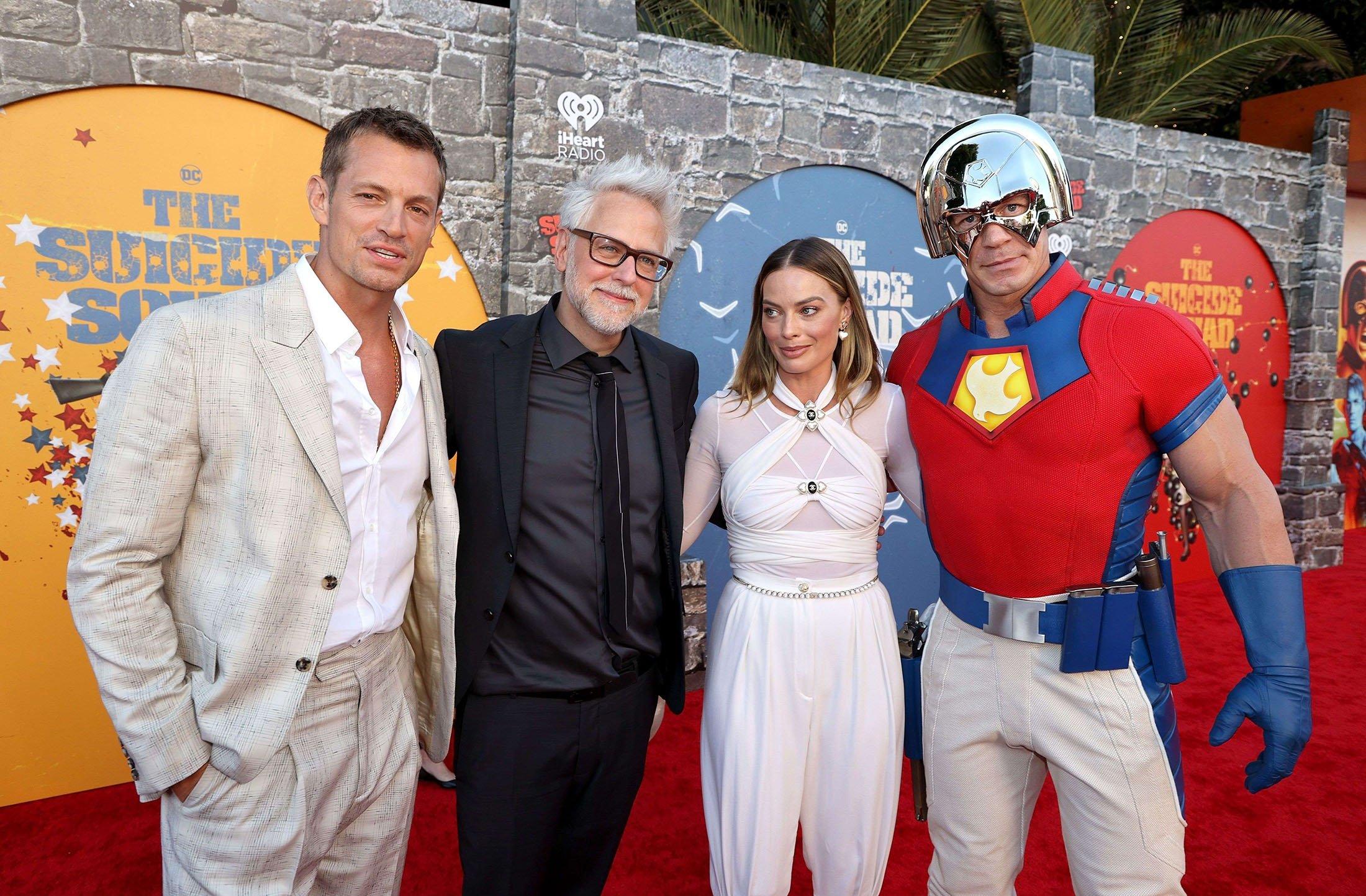 Joel Kinnaman (L), James Gunn (C-L), Margot Robbie (C-R), and John Cena attend the Warner Bros. premiere of 'The Suicide Squad' at Regency Village Theatre in Los Angeles, California, U.S., Aug. 2, 2021. (AFP Photo)