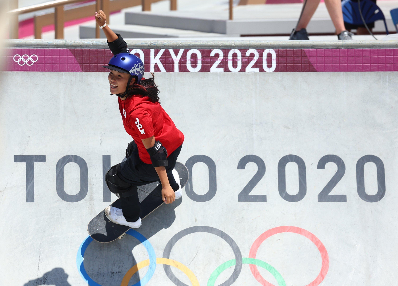 Japan's Sakura Yosozumi in action in the Tokyo 2020 Olympics skateboarding women's park final at the Ariake Urban Sports Park, Tokyo, Japan, Aug. 4, 2021. (Reuters Photo)