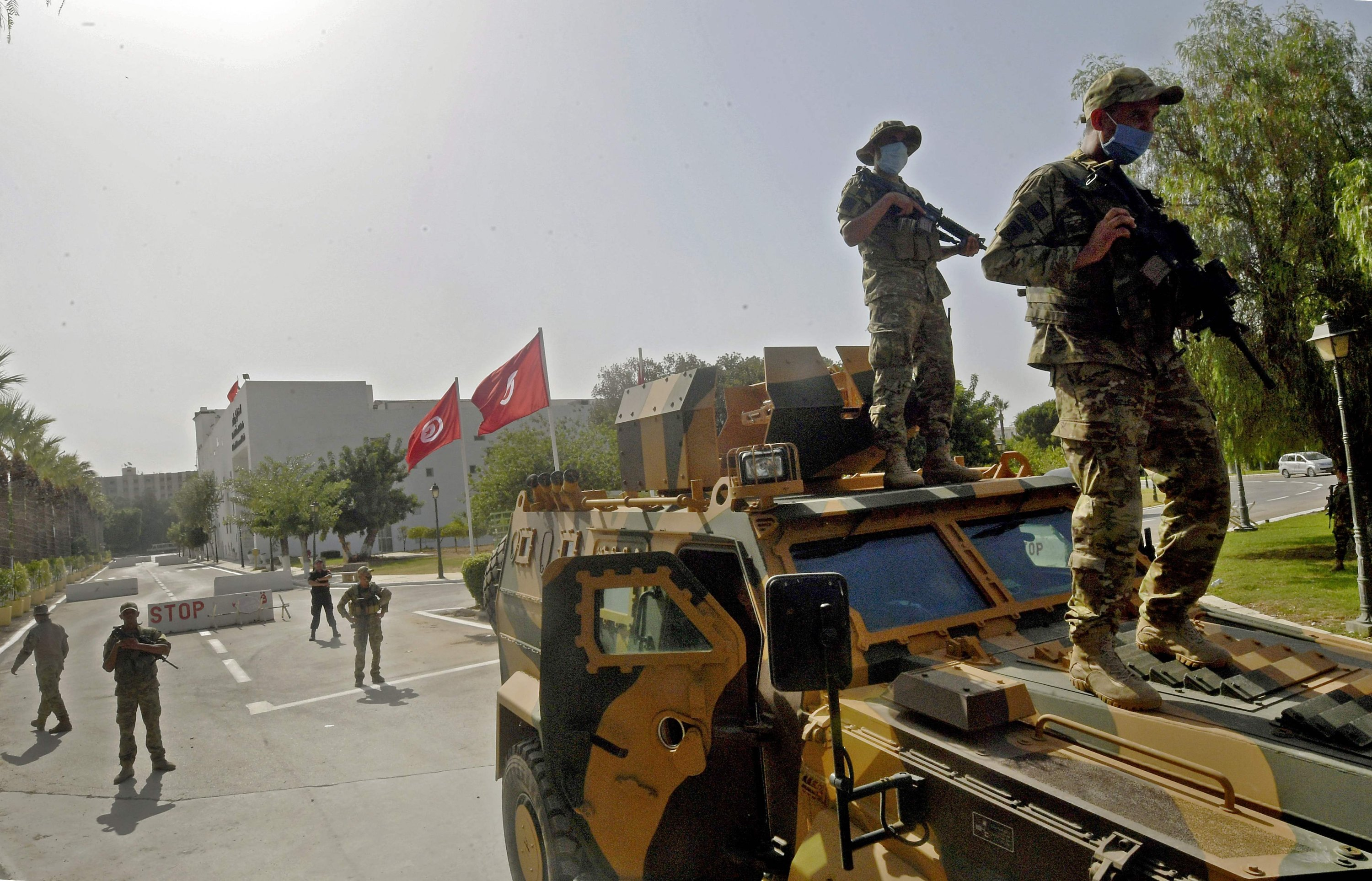 Tunisian military forces guard the area around the parliament building in the capital Tunis, Tunisia, on July 26, 2021. (AFP Photo)