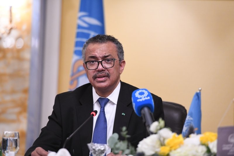 Tedros Adhanom Ghebreyesus, Director General of the World Health Organization (WHO), speaks during a joint press conference with Kuwaiti Health Minister Basil Hammoud Al-Hamad Al-Sabah, in Kuwait City, Kuwait, July 28, 2021. (AA)