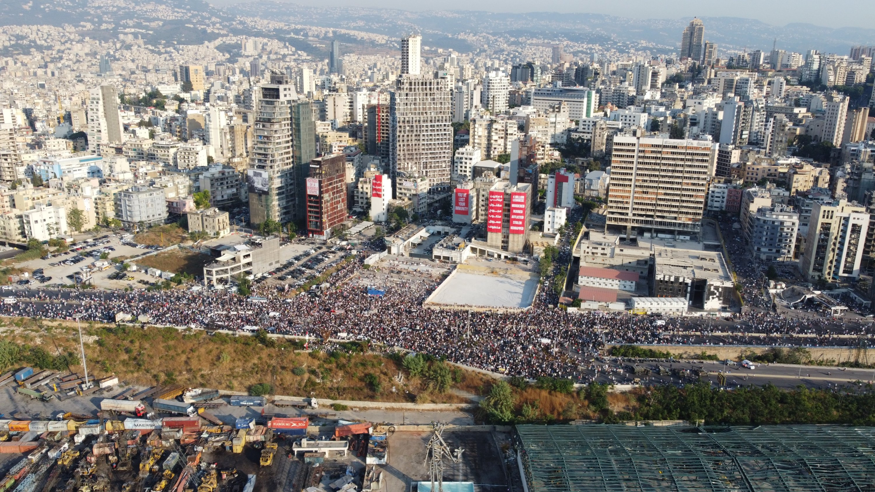 Protesters march in Beirut, Lebanon, Aug. 4, 2021. (Photo courtesy of Jean Michel Habis)