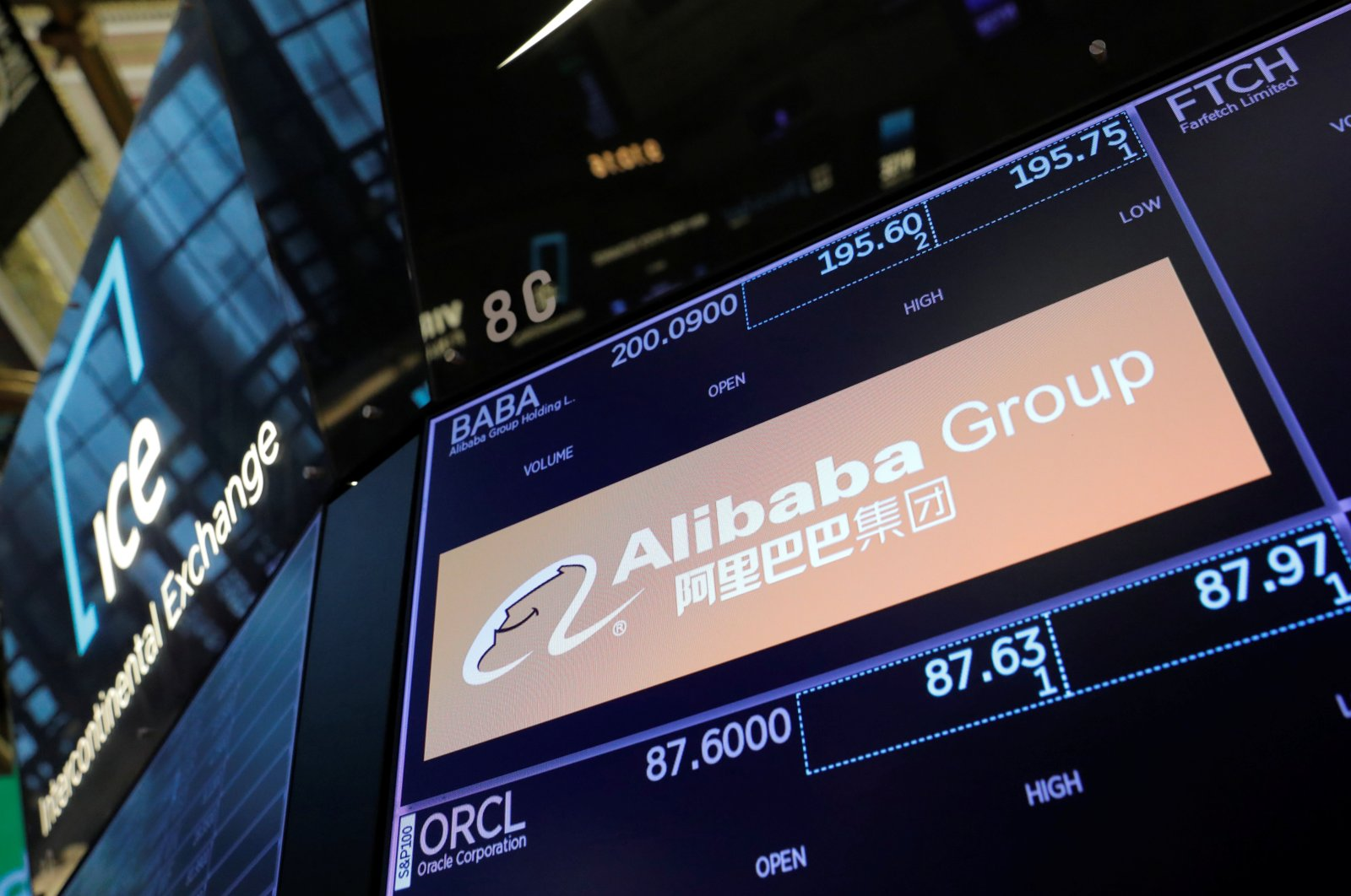 The logo of the Alibaba Group is seen on the trading floor at the New York Stock Exchange (NYSE) in Manhattan, New York City, U.S., Aug. 3, 2021. (Reuters Photo)