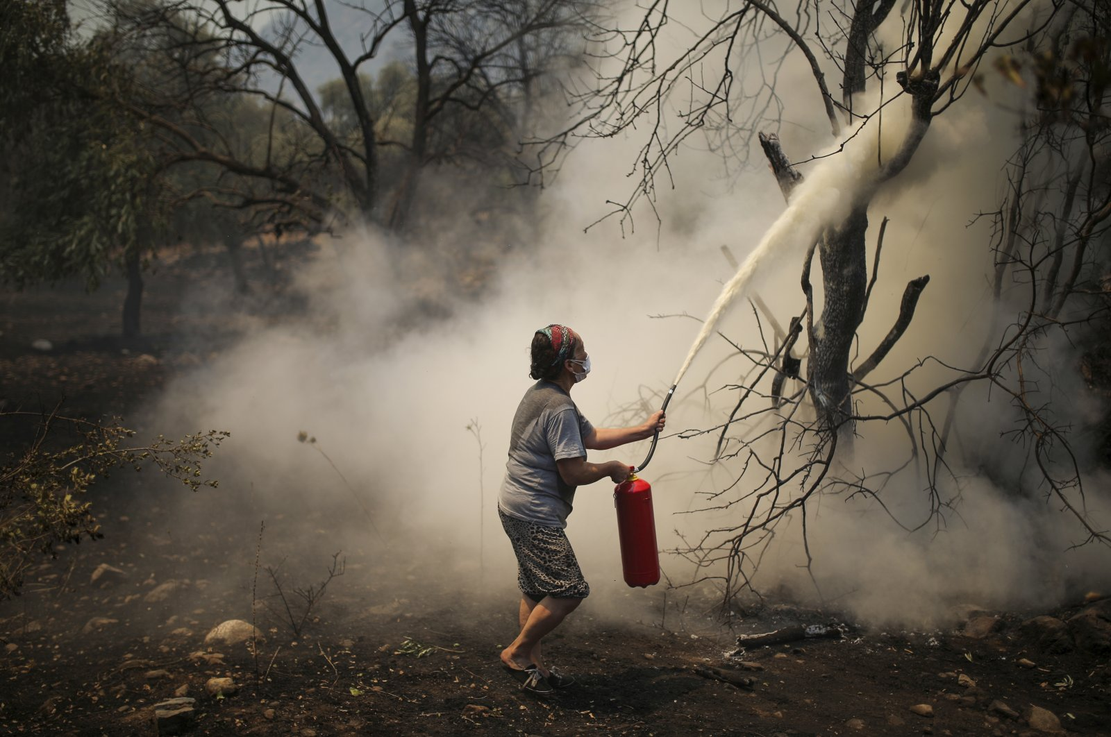 A woman uses a fire extinguisher to save a burning tree in Çökertme village, near Bodrum, Muğla, Turkey, Aug. 3, 2021. (AP Photo)