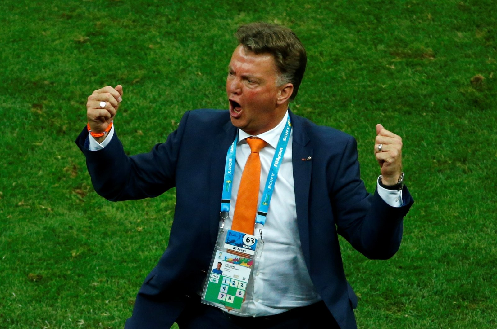 Netherlands coach Louis van Gaal reacts on the sidelines during the 2014 World Cup third-place playoff against Brazil at the Brasilia national stadium, Brasilia, Brazil, July 12, 2014. (Reuters Photo)