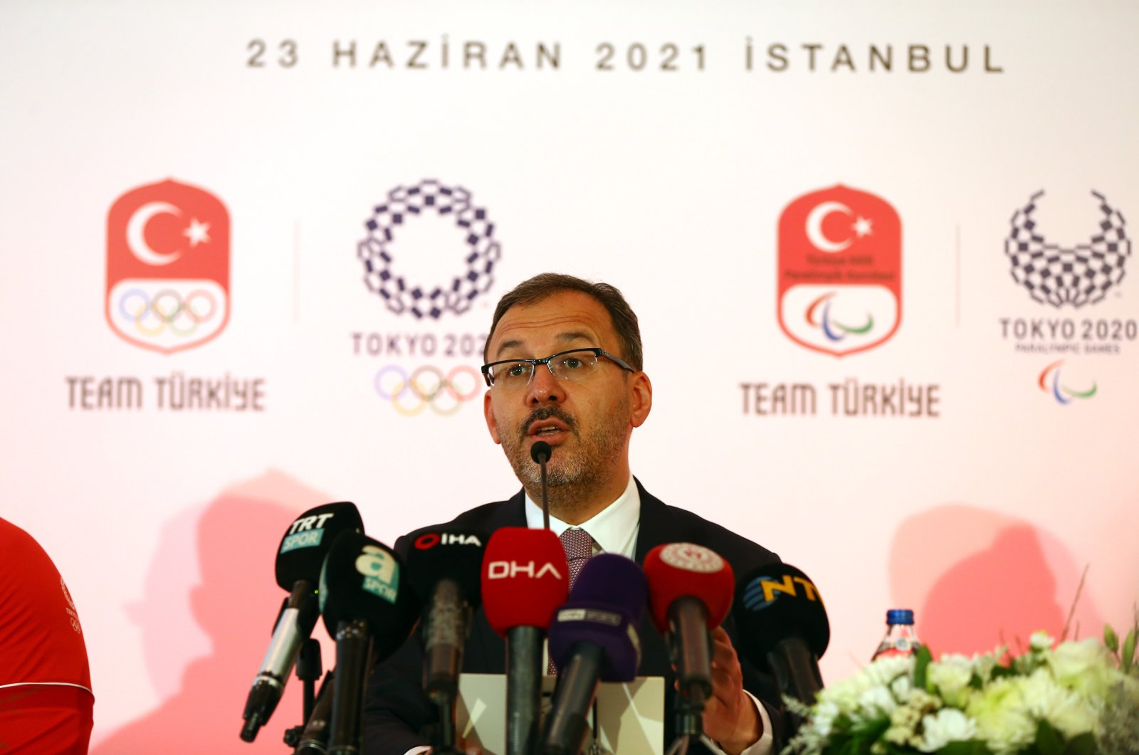 Turkey's Youth and Sports Minister Mehmet MuharremKasapoğluspeaks at an event for the Tokyo Olympics in Istanbul, Turkey, on July 23, 2021. (Sabah File Photo)