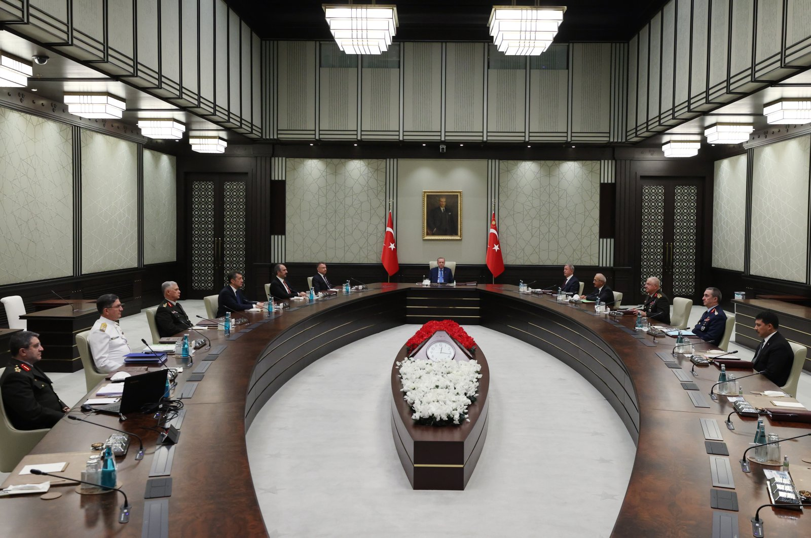 Supreme Military Council (YAŞ) meeting chaired by President Recep Tayyip Erdoğan in the capital Ankara, Turkey, Aug. 4, 2021. (AA Photo)