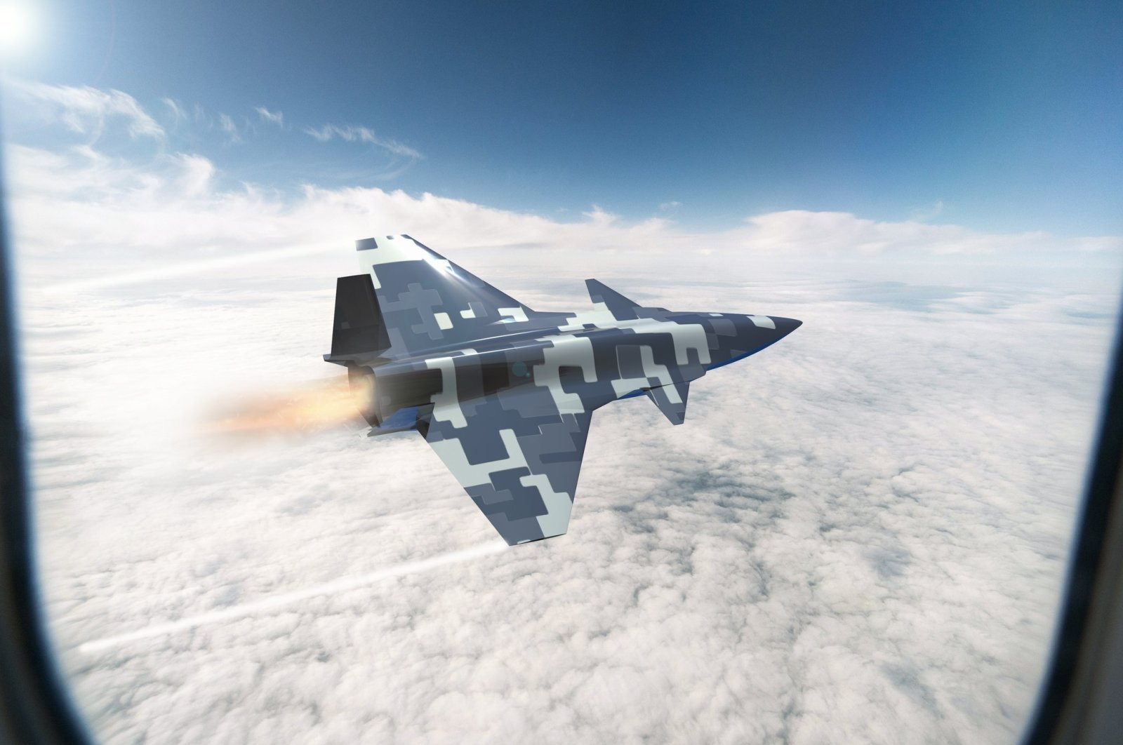 Turkey's domestically made unmanned fighter jet is seen in this illustration photo shared by Baykar.