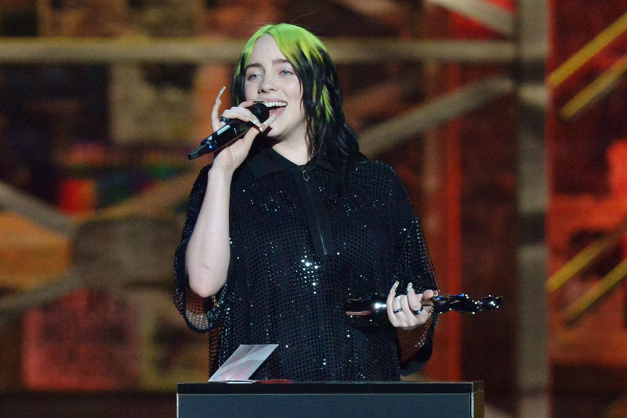 Billie Eilish accepts the International Female Solo Artist award during The BRIT Awards 2020 at the O2 Arena in London, England, Feb. 18, 2020. (Getty Images)