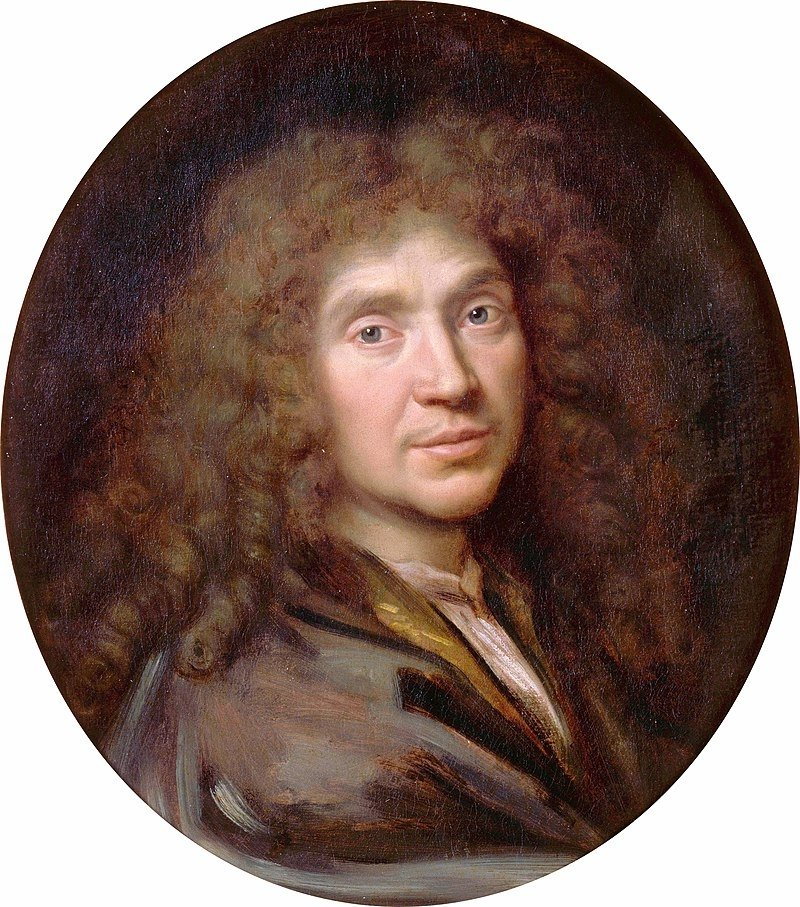 A portrait of Moliere by Pierre Mignard.