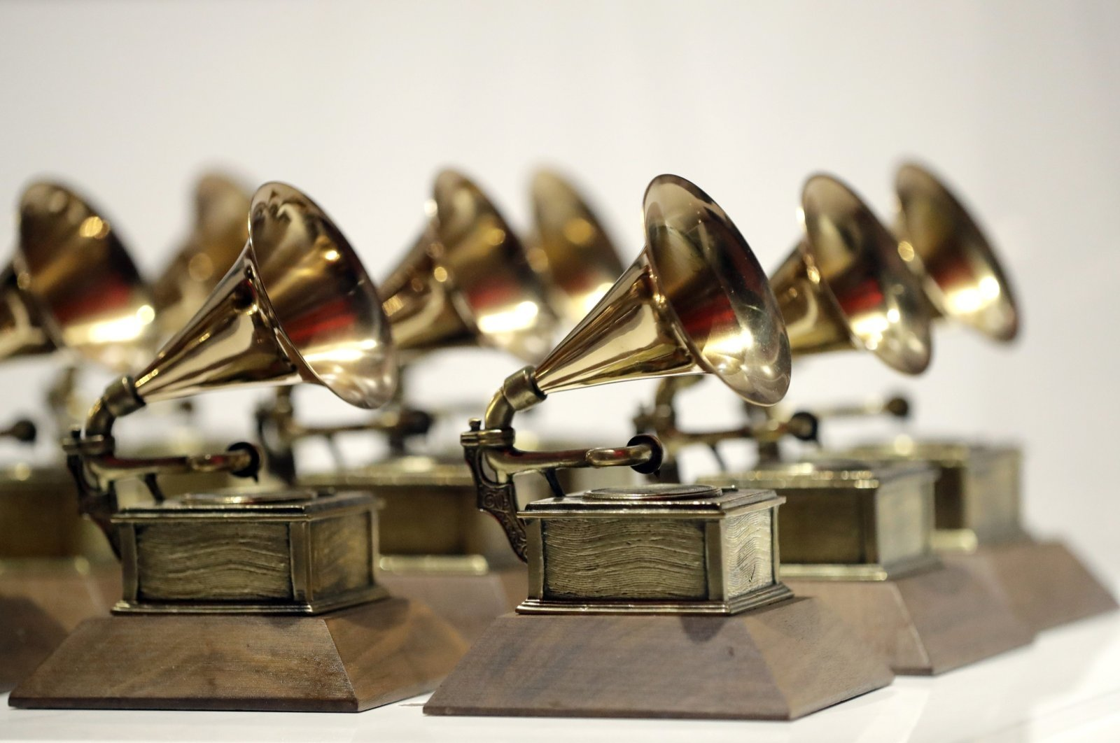 Various Grammy Awards are displayed at the Grammy Museum Experience at Prudential Center in Newark, New Jersey, U.S., Oct. 10, 2017. (AP Photo)