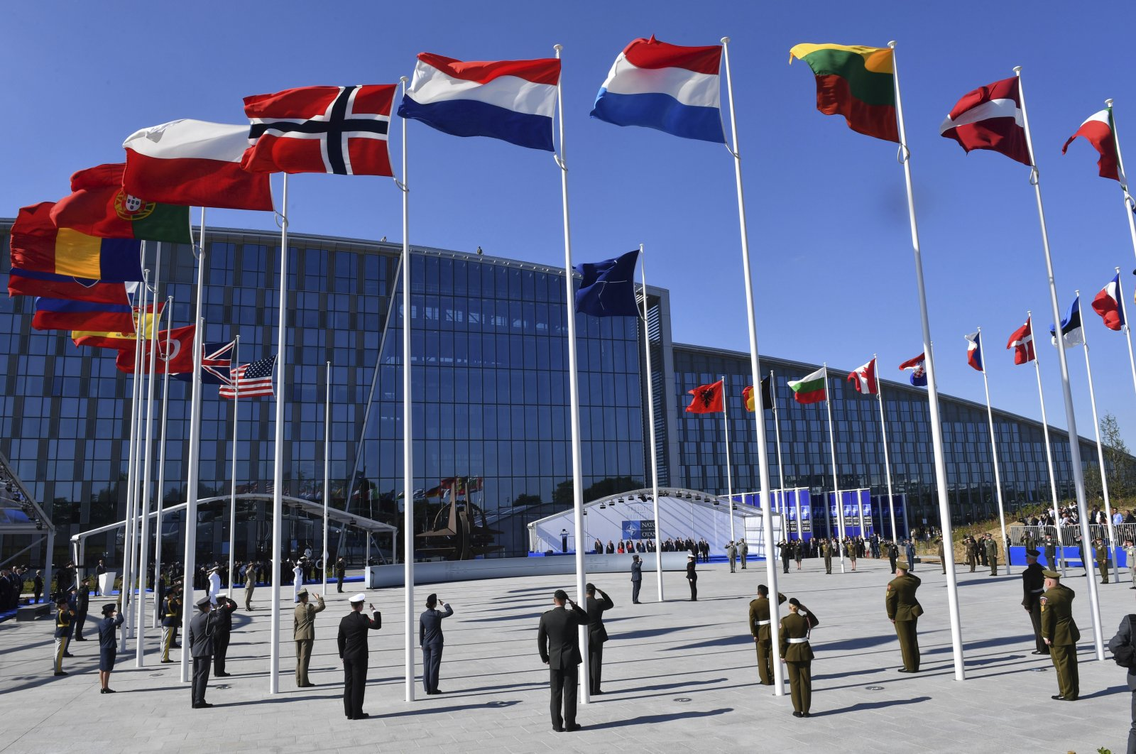 The flags of NATO member countries flutter during a NATO summit in Brussels, Belgium, May 25, 2017. (AP Photo)
