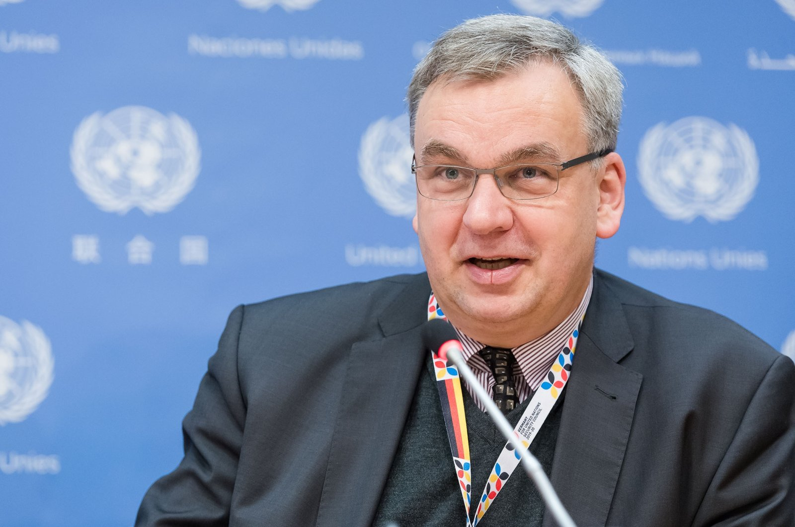 Jurgen Schulz, Germany's ambassador to Ankara, is seen at a press conference at the United Nations Headquarters in New York, March 6, 2017. (Getty Images)