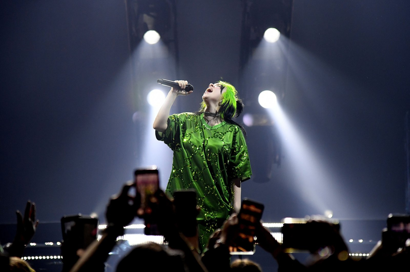 """Billie Eilish performs live on stage at Billie Eilish """"Where Do We Go?"""" World Tour Kick Off, at American Airlines Arena in Miami, Florida, U.S., March 9, 2020. (Getty Images)"""