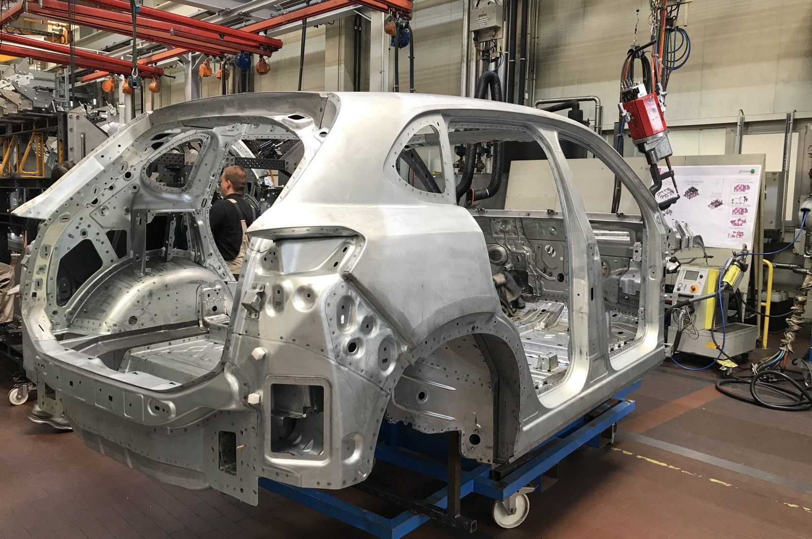 The first vehicle body assembled under the TOGG brand in a factory in Gebze, northwestern Turkey, July 12, 2021. (Courtesy of TOGG)