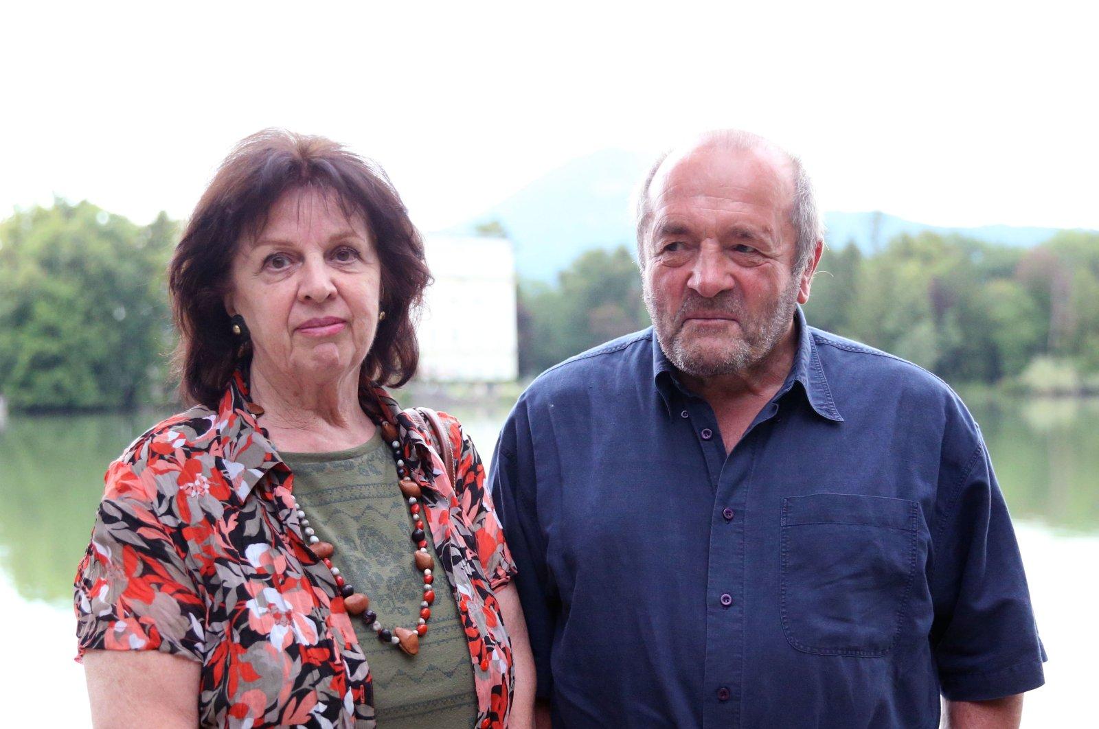 Roland Selim Kadir Osmanoğlu poses with his wife Gerlinde, in Salzburg, Austria, Aug. 4, 2021. (AA PHOTO)