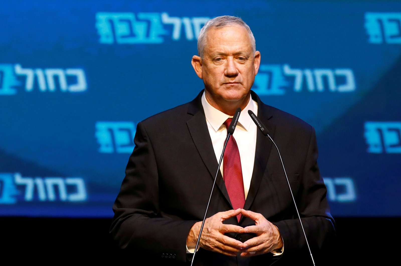 Blue and White party leader Benny Gantz reacts at the party's headquarters following the announcement of exit polls during Israel's parliamentary election in Tel Aviv, Israel, Sept. 18, 2019. (Reuters Photo)
