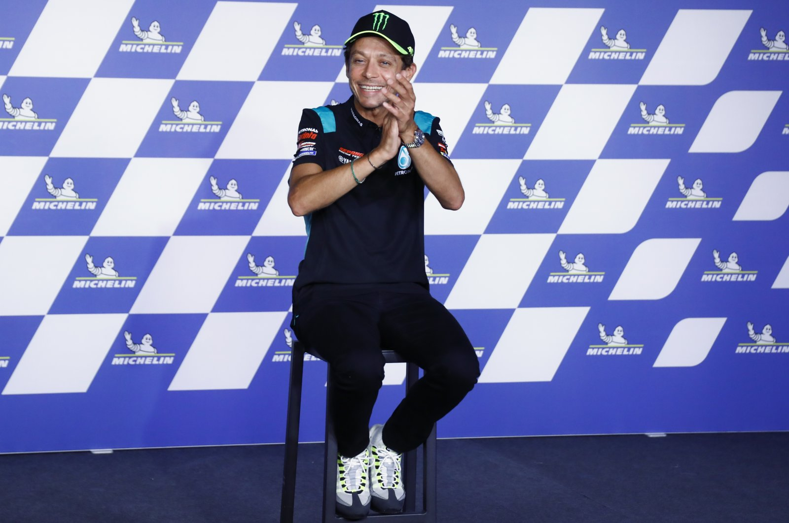 Italian rider Valentino Rossi attends a news conference ahead of the MotoGP motorcycle race Grand Prix of Styria at the Red Bull Ring in Spielberg, Austria, Aug. 5, 2021. (AP Photo)