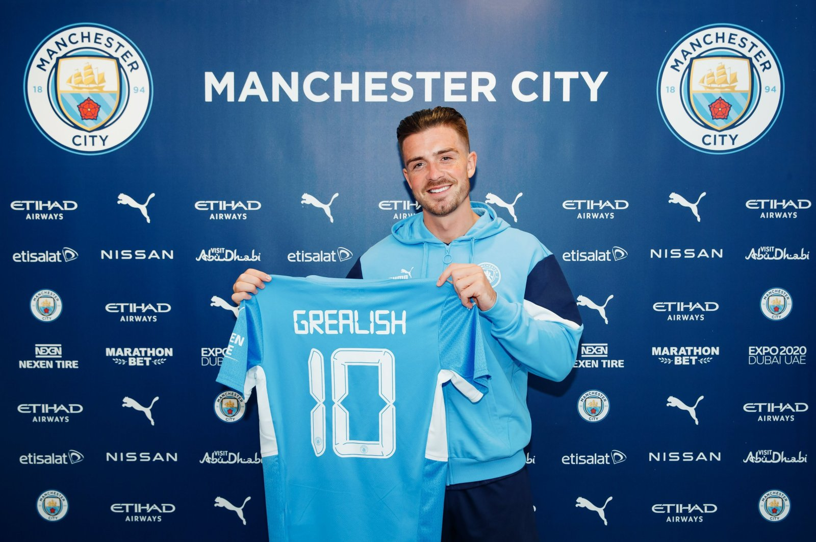 Manchester City unveils new signing Jack Grealish at Manchester City Football Academy in Manchester, England, Aug. 05, 2021. (Photo: @ManCity)