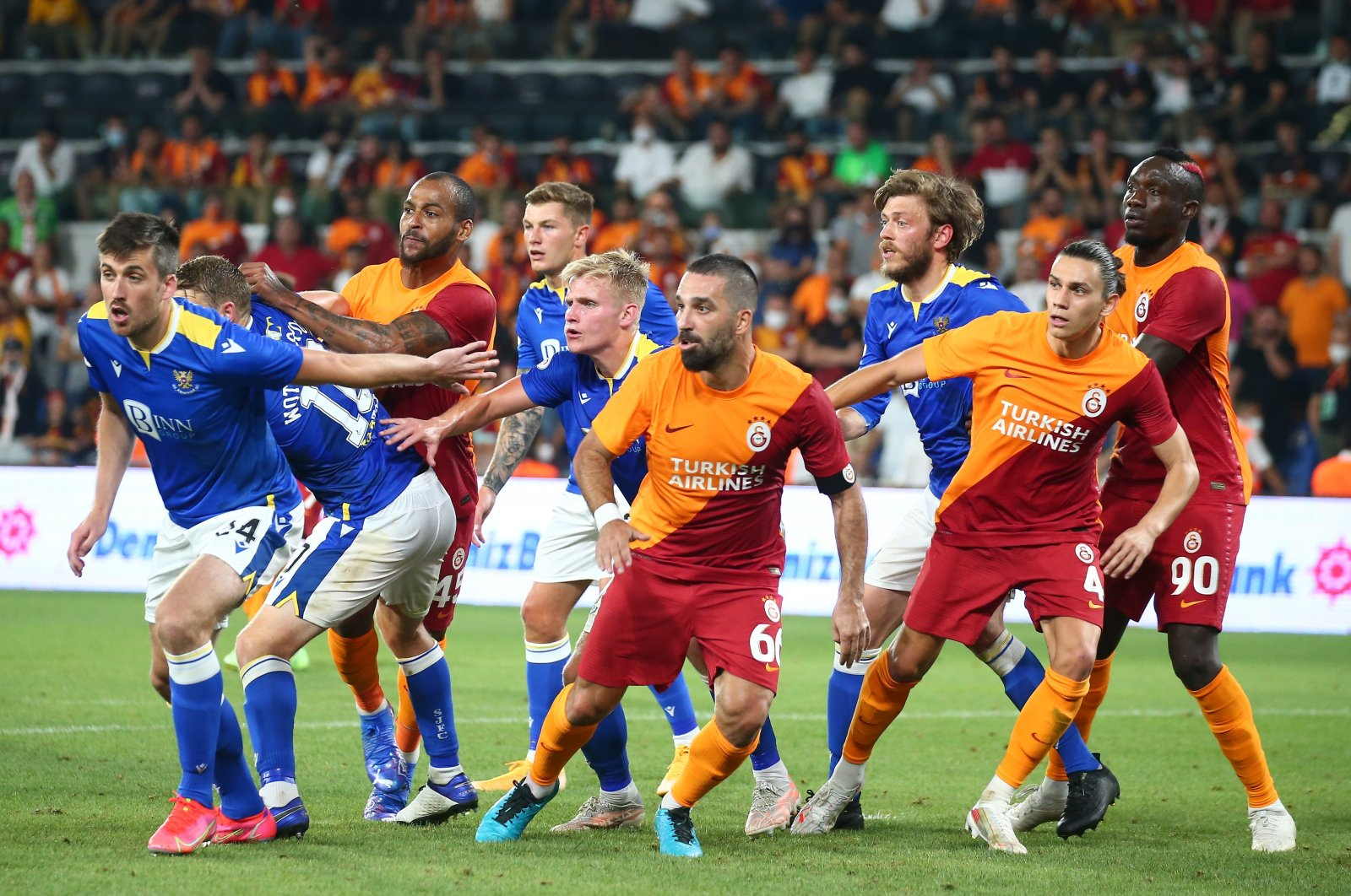 Galatasaray and St. Johnstone players are seen in action at Istanbul's Fatih Terim Stadium on Aug. 5, 2021 (IHA Photo)