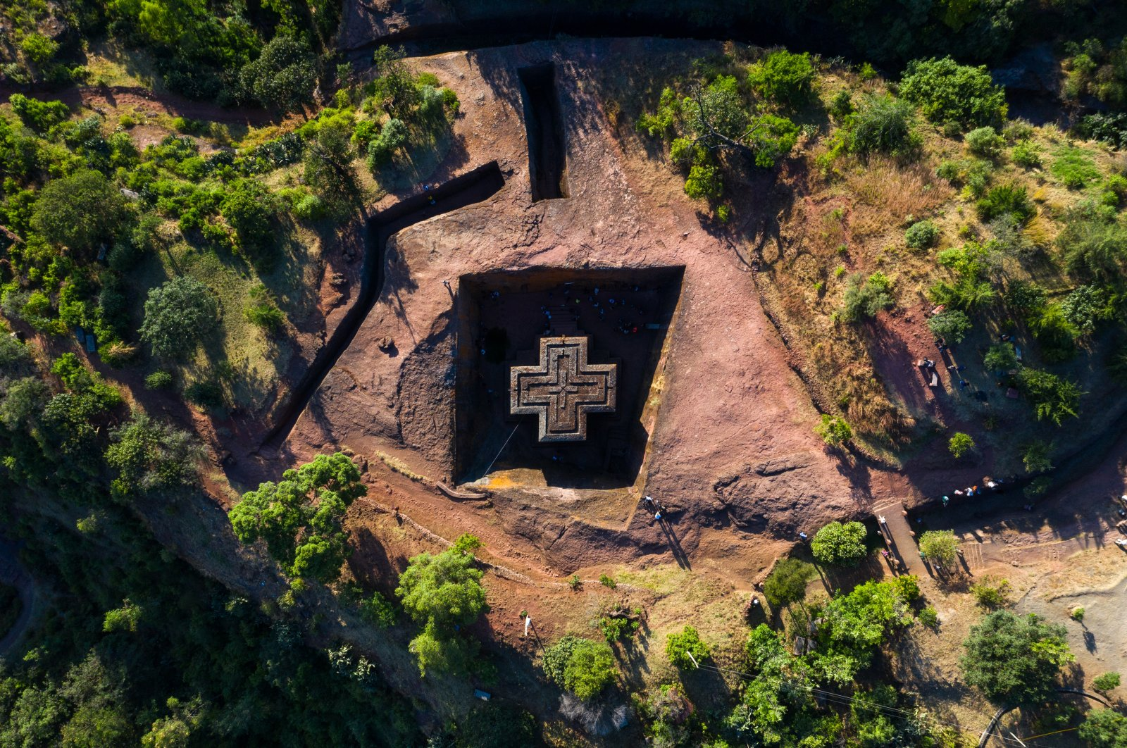 Aerial view of the monolithic rock-cut Church of Saint George, also known as Bete Giyorgis, in Lalibela, Amhara Region, Ethiopia, Oct. 30, 2018. (Getty Images)