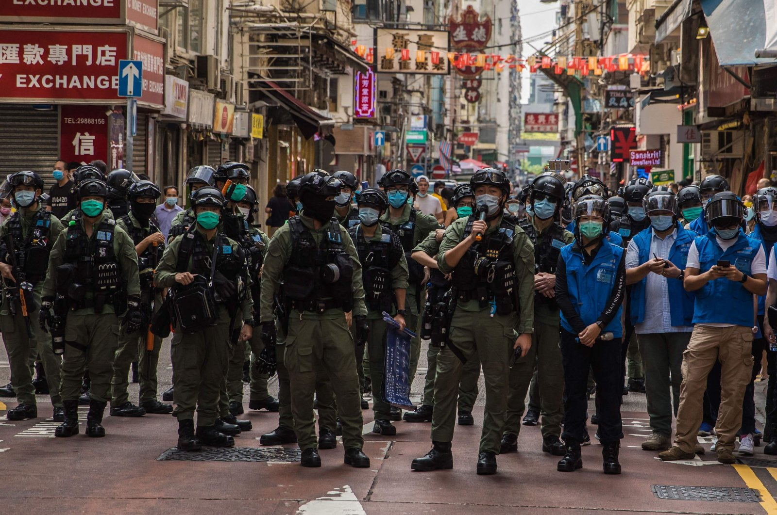 Police patrol the area after protesters called for a rally in Hong Kong to protest against the government's decision to postpone the legislative council election due to the COVID-19 pandemic, and the national security law, in Hong Kong, Sept. 6, 2020. (AFP Photo)