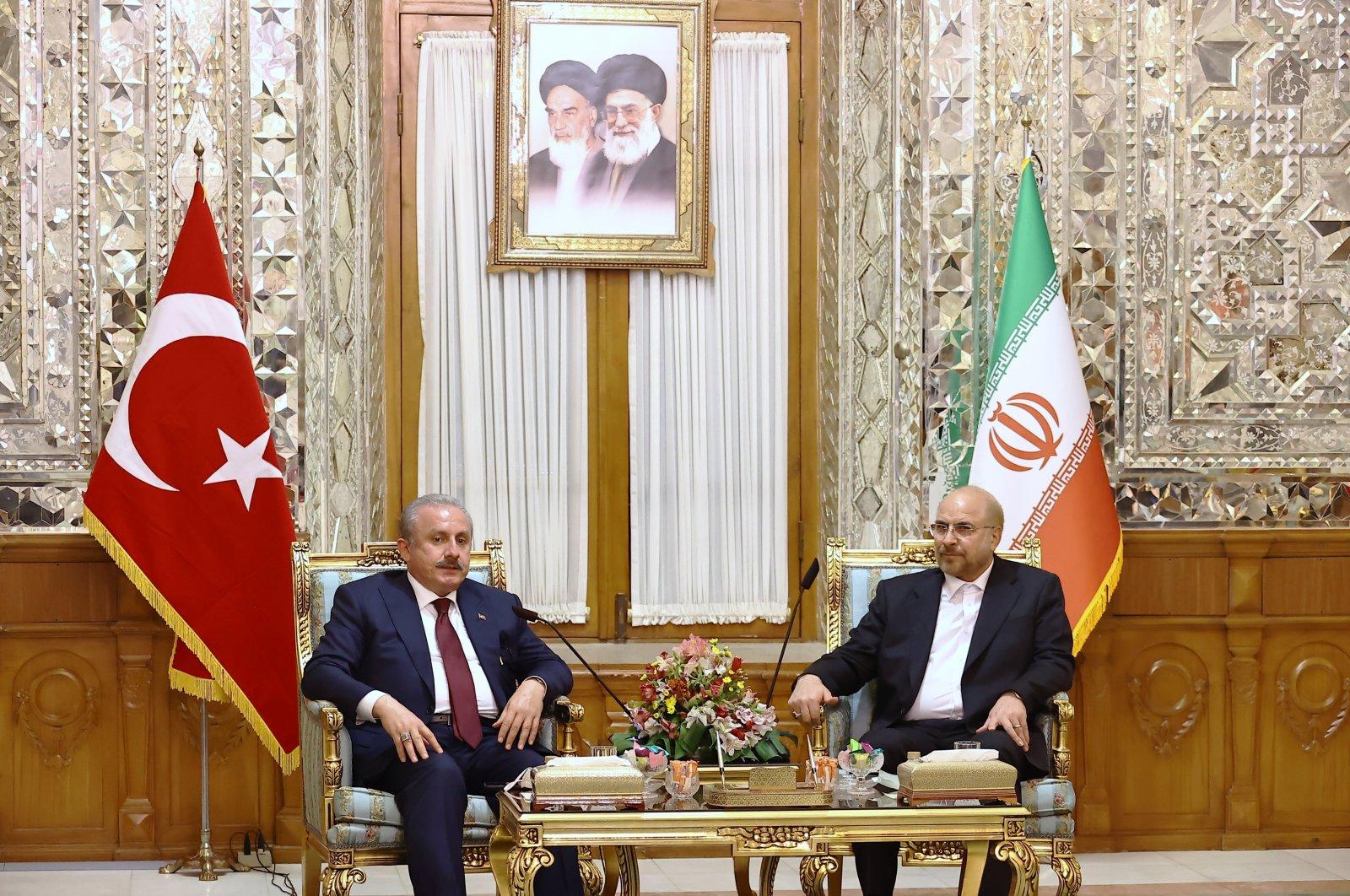 Parliament Speaker Mustafa Şentop meets with Iranian parliament head Mohammad Bagher Ghalibaf in Tehran, Aug. 5, 2021 (AA Photo)