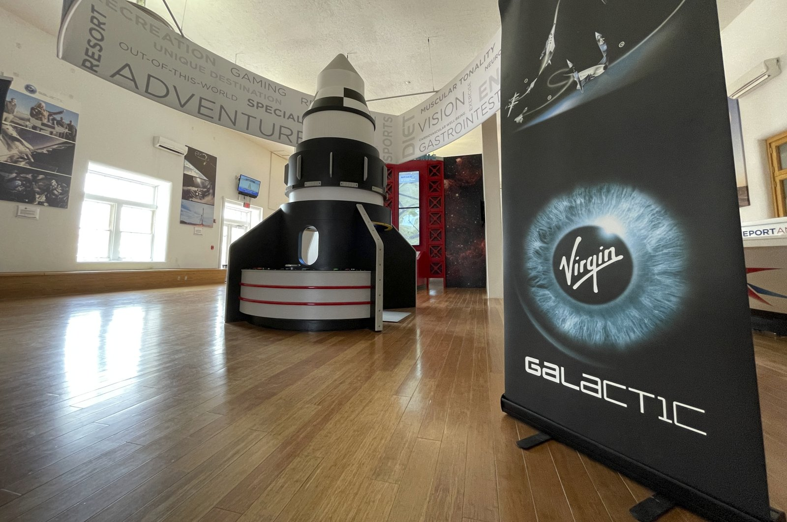 A toy rocket is on display at the visitor center in Truth or Consequences, New Mexico, July 12, 2021. (AP Photo)