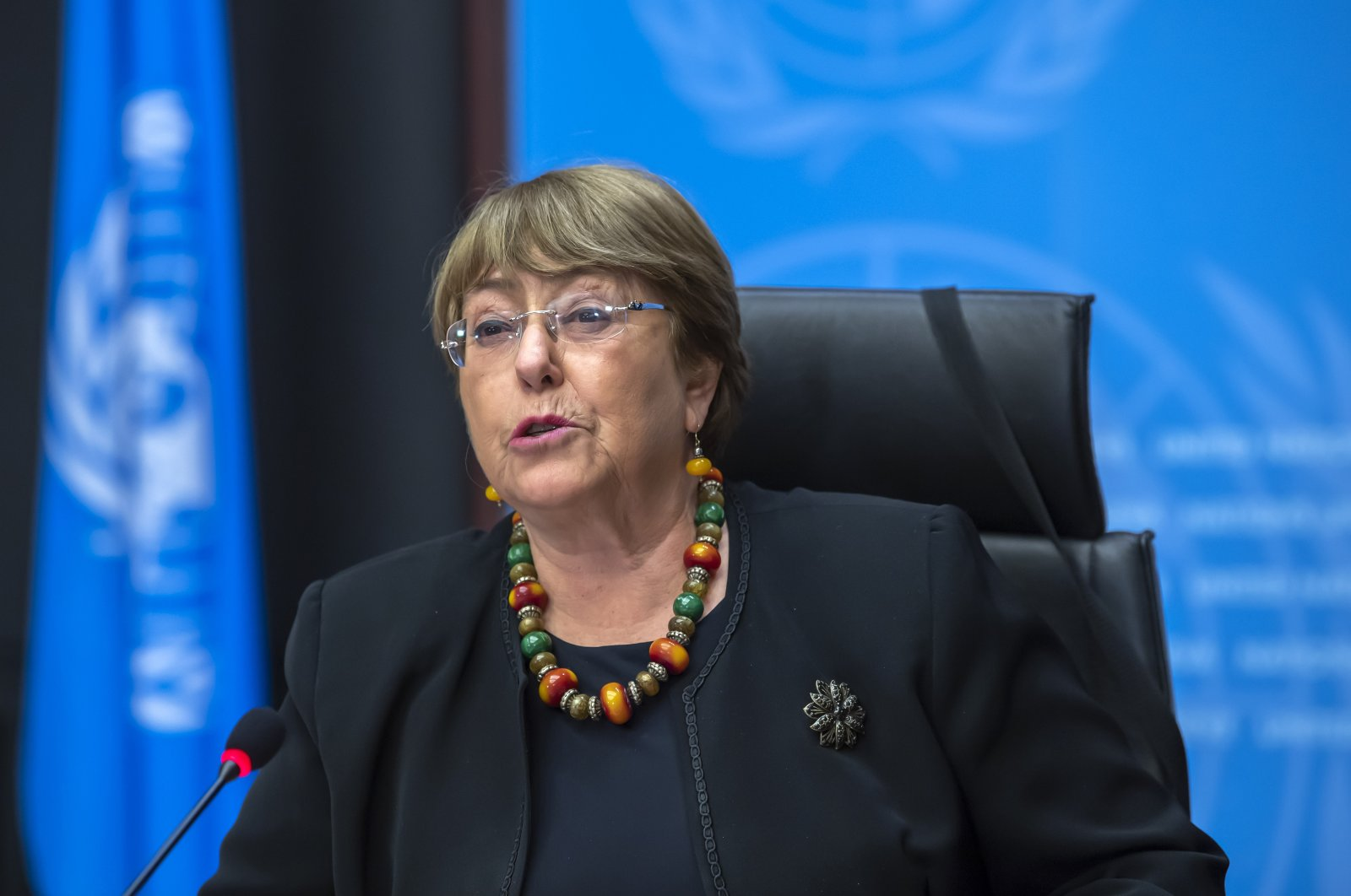UN High Commissioner for Human Rights Michelle Bachelet speaks during a press conference at the European headquarters of the United Nations in Geneva, Switzerland, Dec. 9, 2020. (AP Photo)