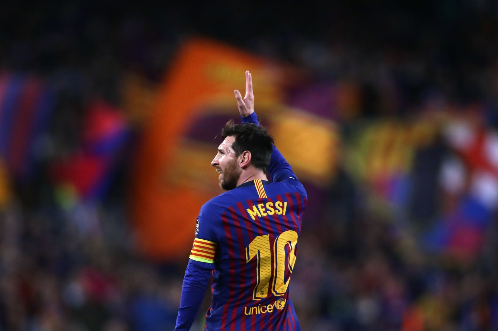 Barcelona forward Lionel Messi celebrates after scoring his side's second goal during the Champions League quarterfinal, second leg match against Manchester United at the Camp Nou stadium in Barcelona, Spain, April 16, 2019. (AP Photo)