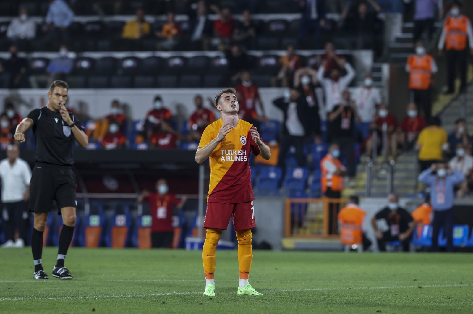 Galatasaray's Kerem Aktürkoğlu looks dejected during the UEFA Europa League third qualifying round match against Scotland's St. Johnstone, Istanbul, Turkey, Aug. 5, 2021. (AA Photo)