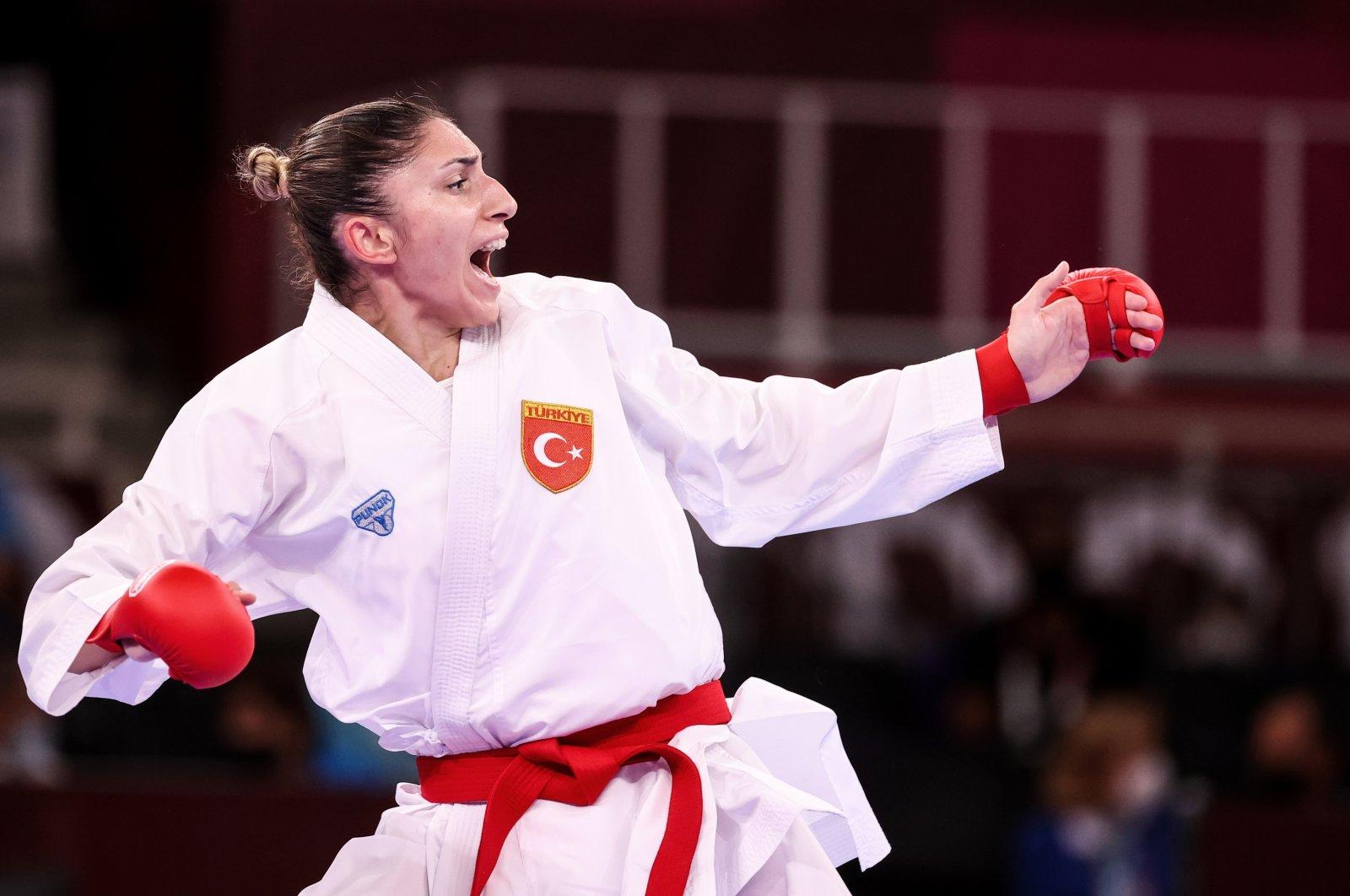 Turkey's Merve Çoban in action during a Tokyo 2020 Olympic Games women's kumite 61-kilogram karate event at the Nippon Budokan, Tokyo, Japan, Aug. 6, 2021. (AA Photo)