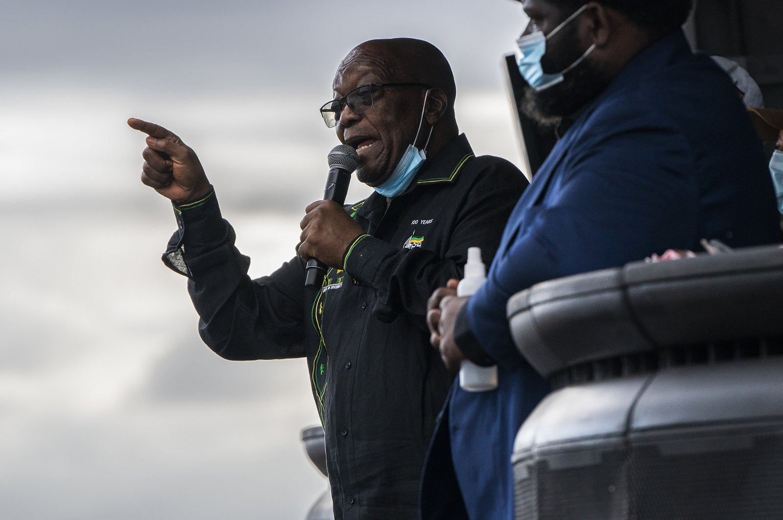 Former president Jacob Zuma addresses supporters at his home in Nkandla, KwaZulu-Natal Province, South Africa, July 4, 2021. (AP Photo)