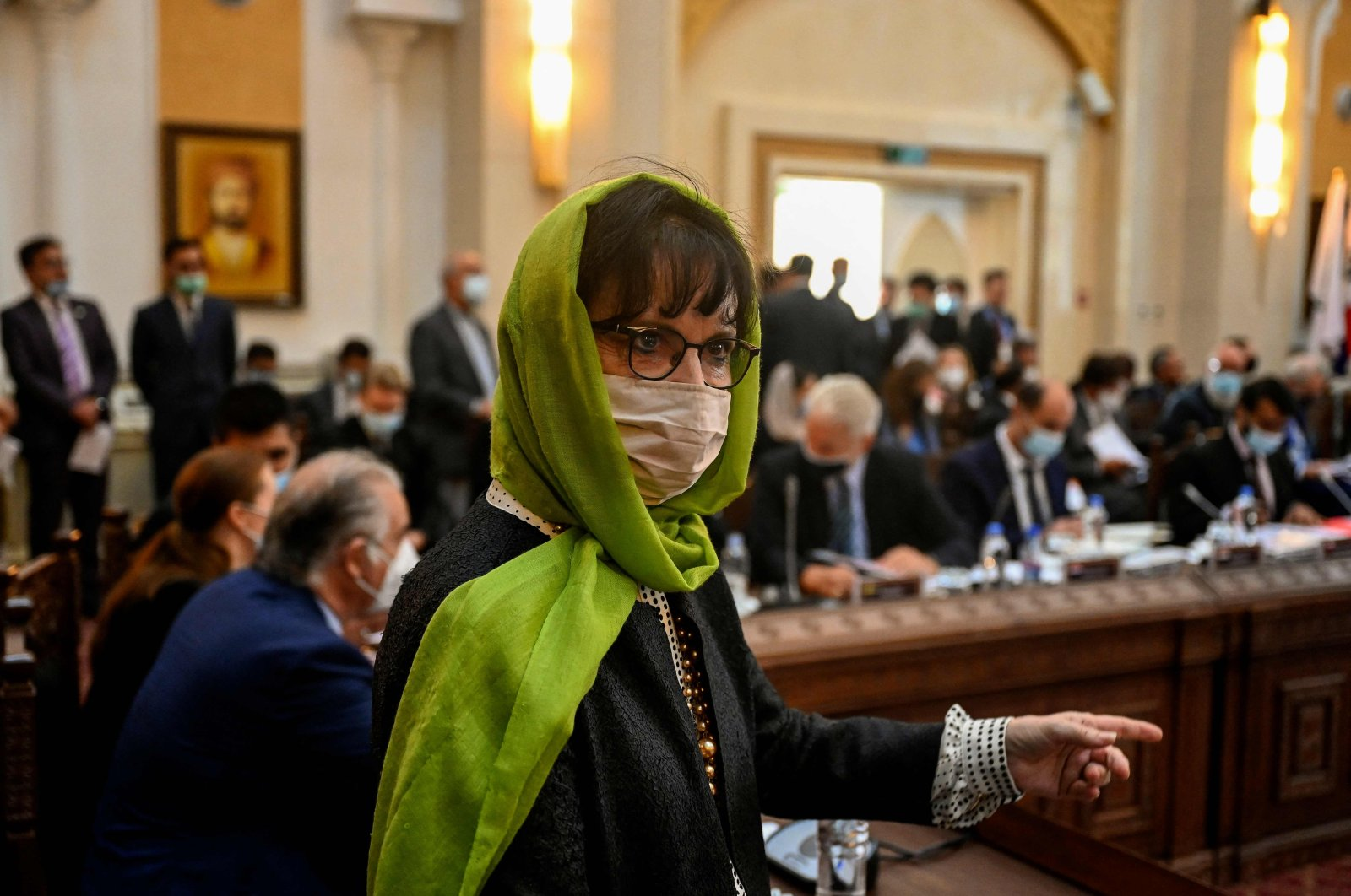 United Nations Assistance Mission in Afghanistan (UNAMA) head Deborah Lyons attends a Joint Coordination and Monitoring Board meeting (JCMB) at the Afghan presidential palace, Kabul, Afghanistan, July 28, 2021. (AFP Photo)