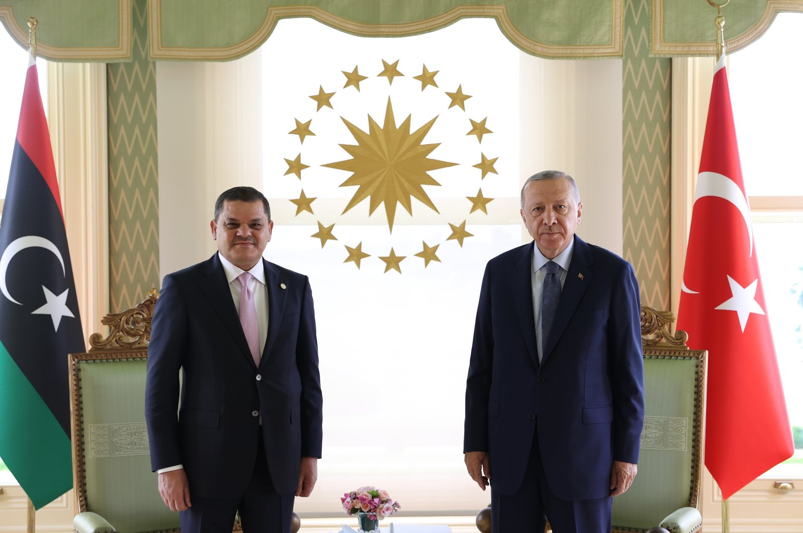 Turkish President Recep Tayyip Erdoğan (R) poses for a photo with the Libyan Prime Minister Abdul Hamid Dbeibah in Istanbul, Aug. 7, 2021. (AA Photo)