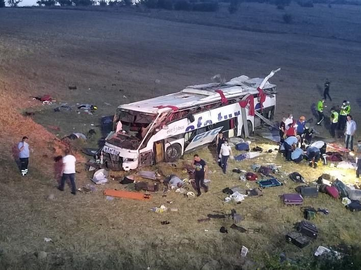 The crashed bus is seen in this picture taken in Balıkesir on Aug. 8, 2021 (IHA Photo)