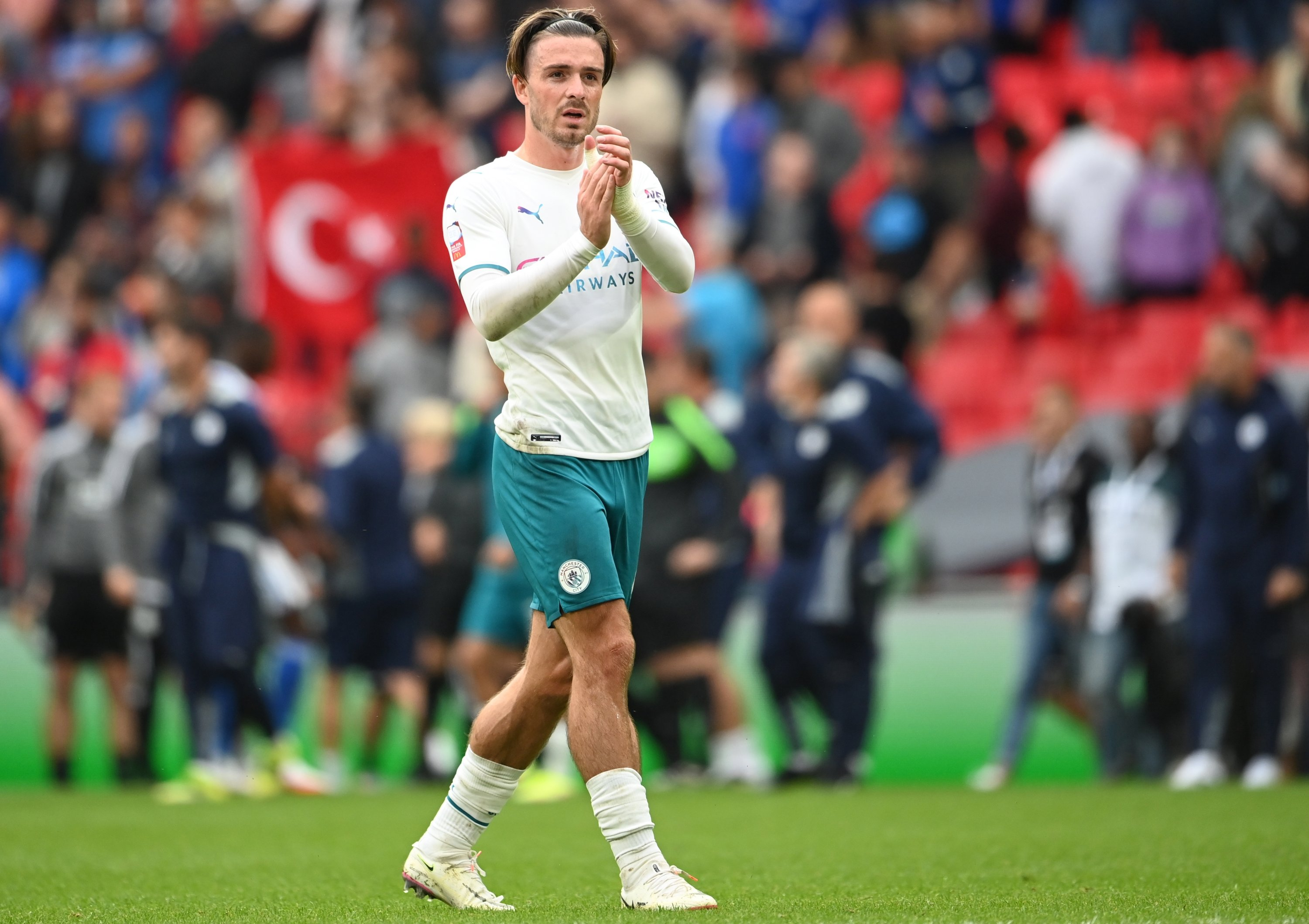 Manchester City's new recruit Jack Grealish (L) during the FA Community Shield match against Leicester City at the Wembley stadium in London, England, Aug. 7, 2021. (EPA Photo)