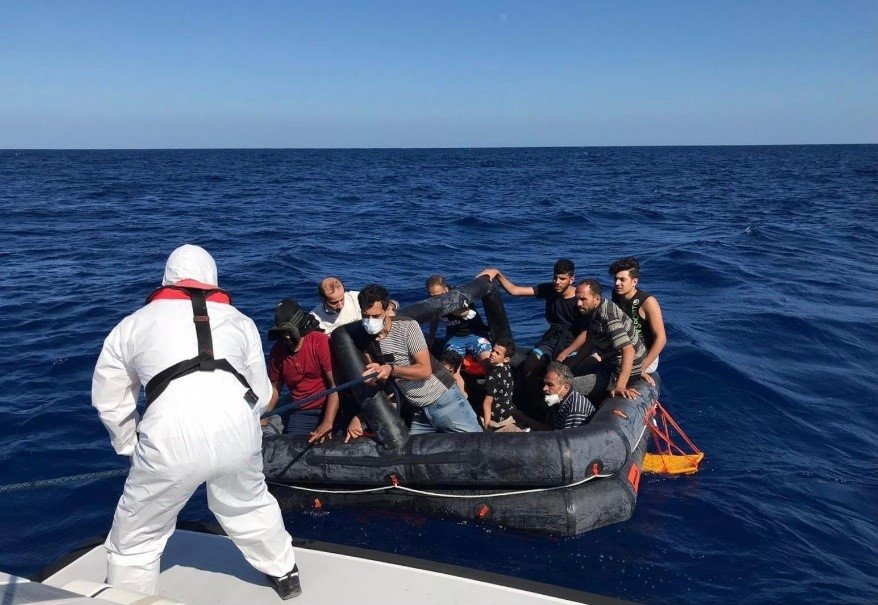 Turkish coast guard units rescue migrants pushed back by Greece in the Aegean Sea, Marmaris, Muğla, Turkey, July 27, 2021. (AA Photo)