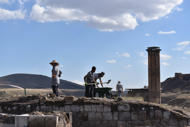Archaeologists work in Ani, Kars, eastern Turkey, Aug. 7, 2021. (AA Photo)