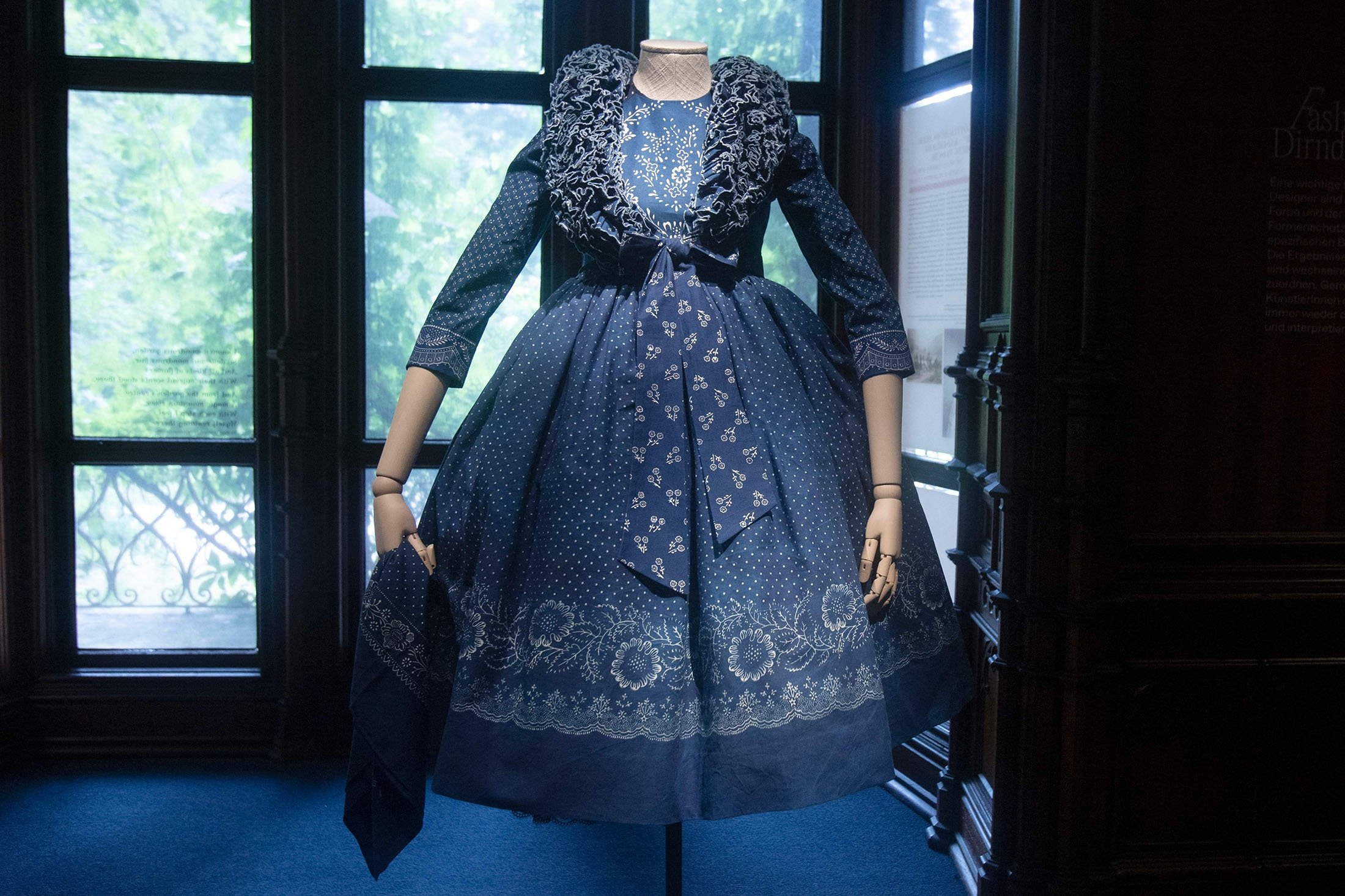 A dirndl dress is on display at the exhibition 'Dirndl – Tradition goes fashion' at the Mamorschloessl palace in Bad Ischl, Upper Austria, June 24, 2021. (AFP Photo)
