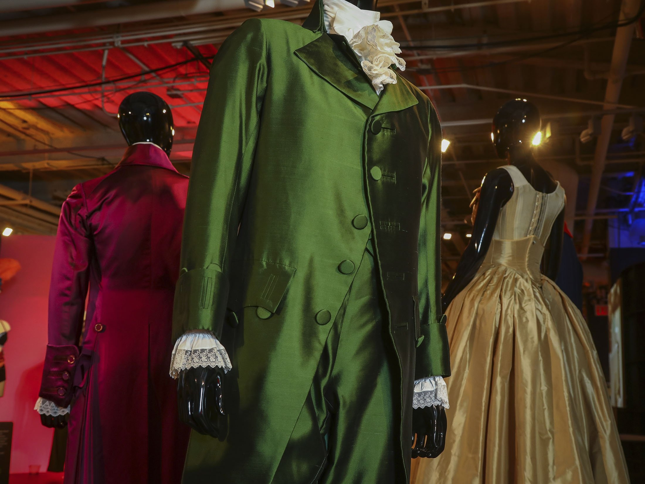 Costumes from the Broadway musical 'Hamilton' are displayed at the 'Showstoppers! Spectacular Costumes from Stage & Screen' exhibit in Times Square, New York, U.S., Aug. 2, 2021. (AP Photo)