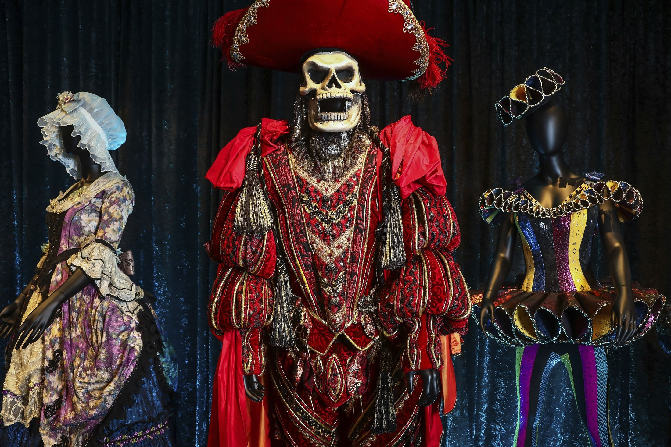 Costumes from the Broadway musical 'The Phantom of the Opera' are displayed at the 'Showstoppers! Spectacular Costumes from Stage & Screen' exhibit in Times Square, New York, U.S., Aug. 2, 2021. (AP Photo)