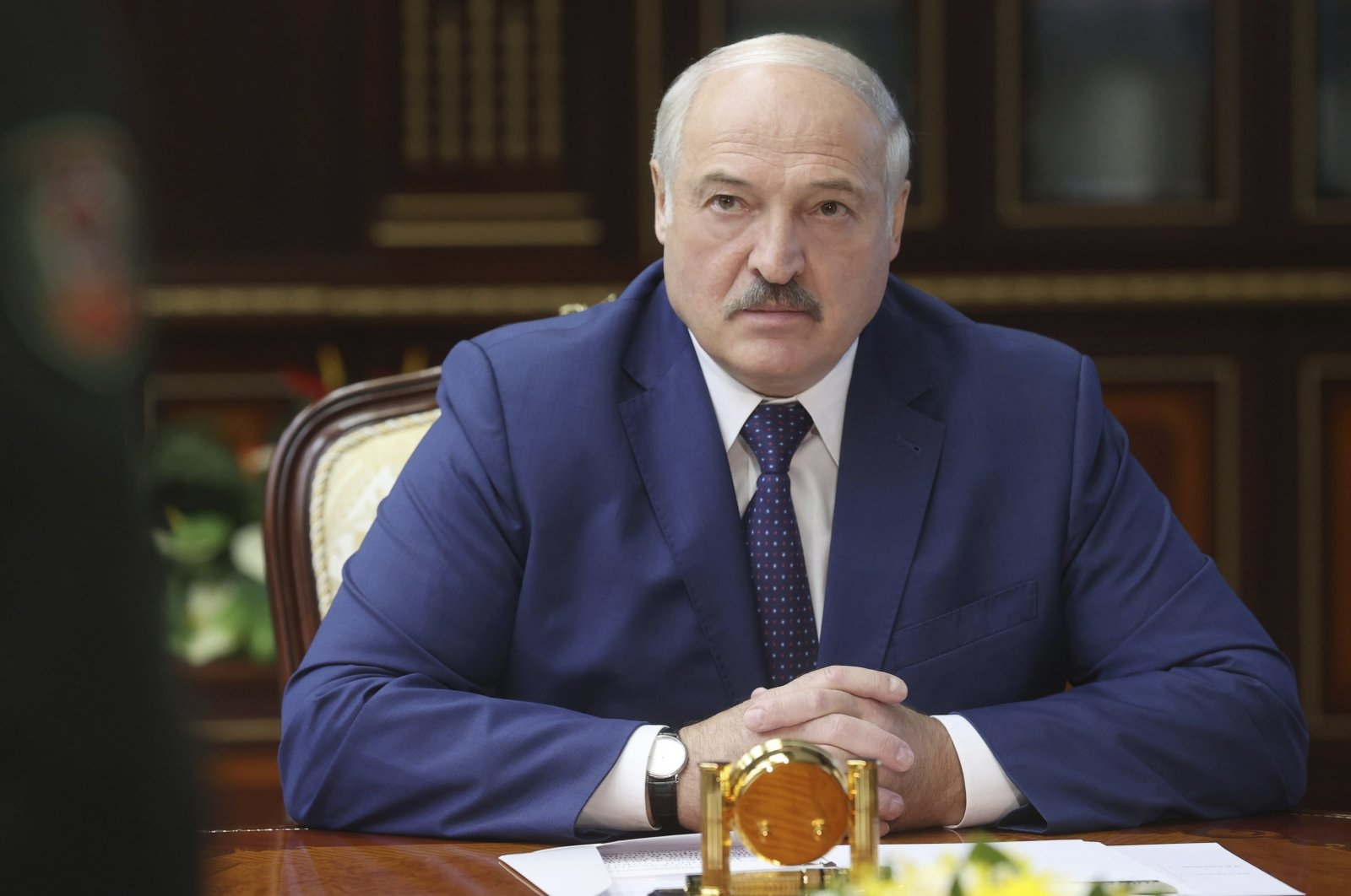 Belarusian President Alexander Lukashenko speaks to high level military officials in Minsk, Belarus, Aug. 5, 2021. (AP Photo)