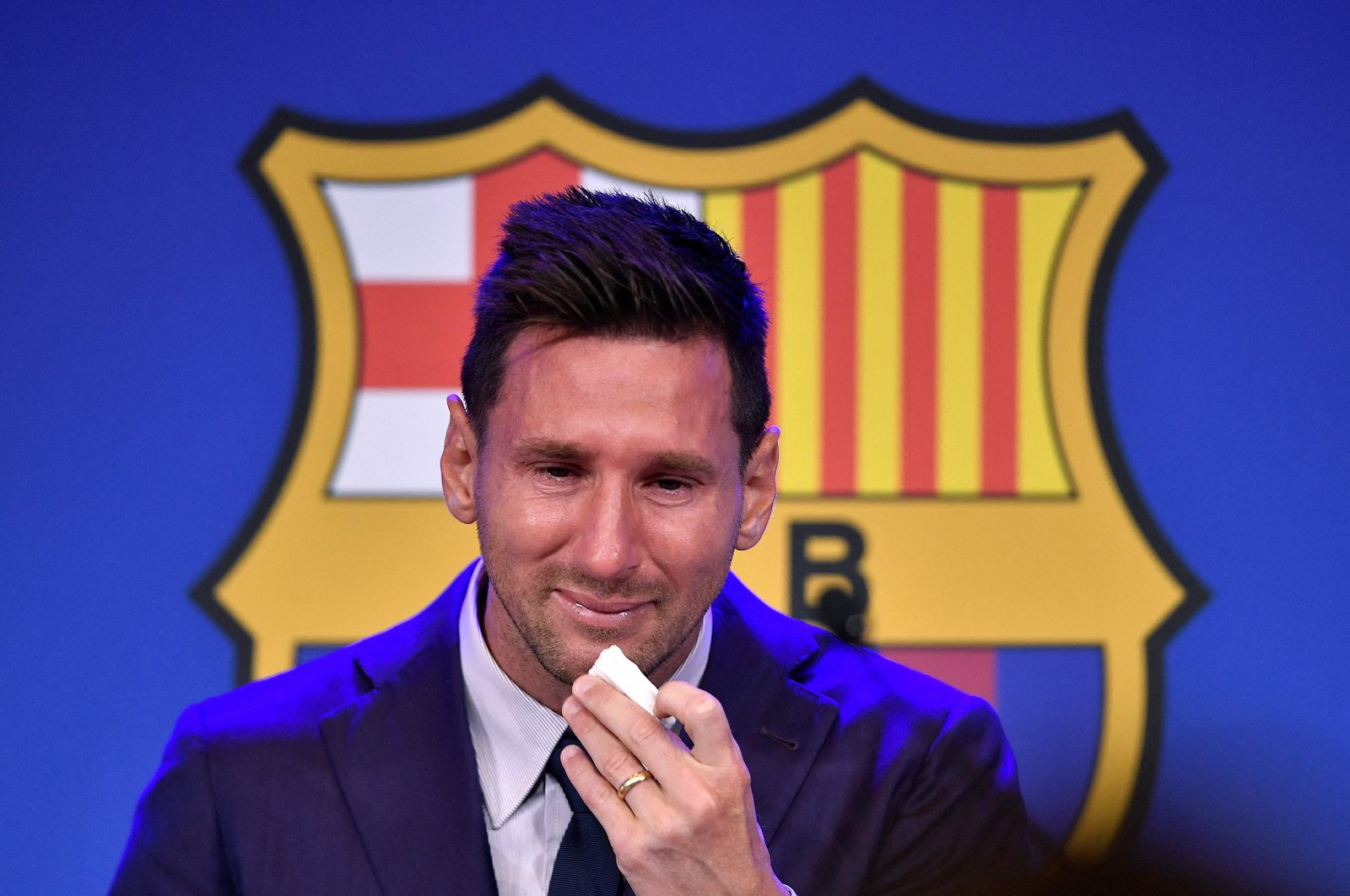 Barcelona's Argentinian forward Lionel Messi cries during a press conference at the Camp Nou stadium in Barcelona, Spain, Aug. 8, 2021. (AFP Photo)