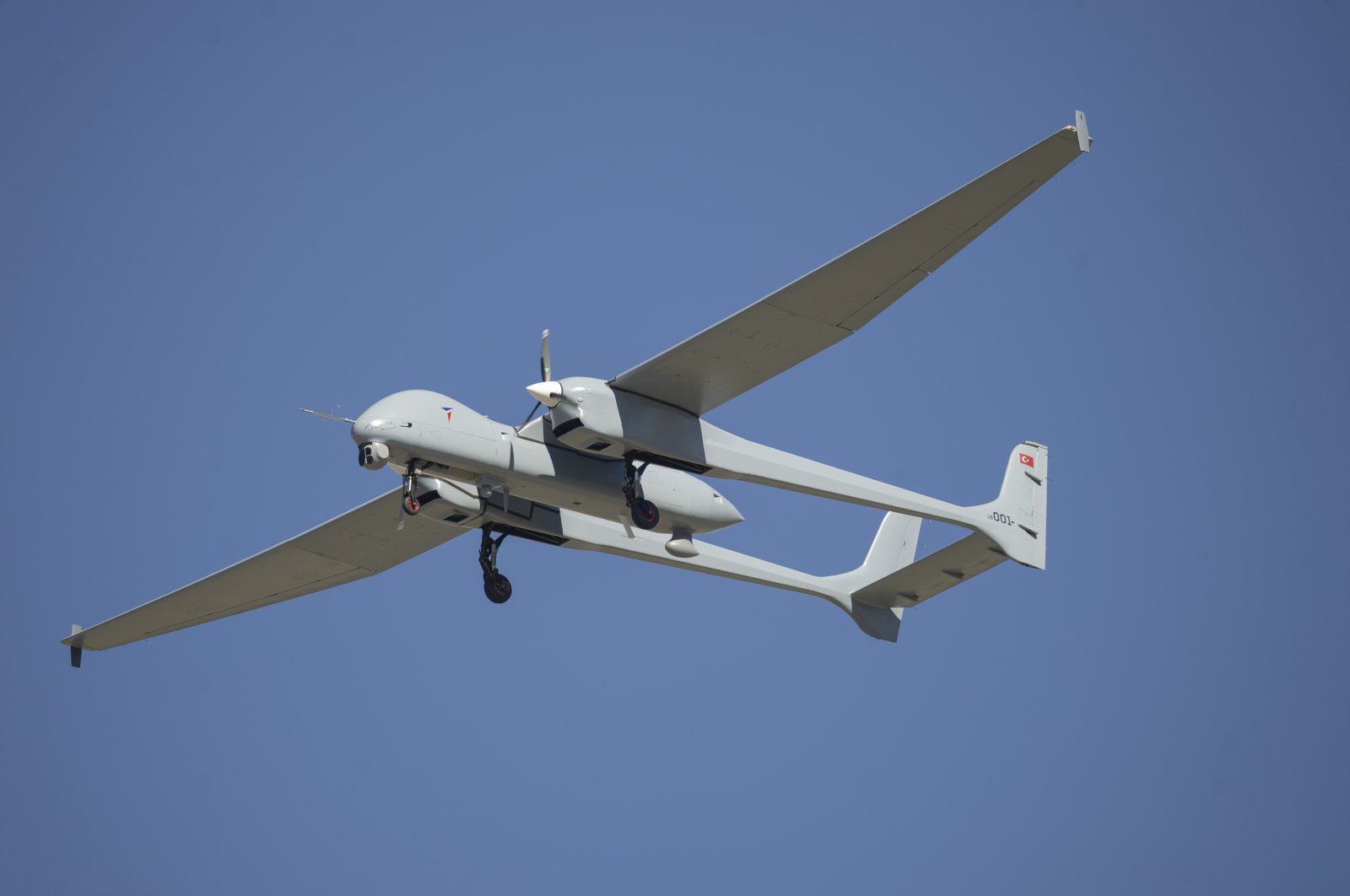 The Aksungur UAV seen in the air in this photo provided on Aug. 7, 2021. (Courtesy of TAI)