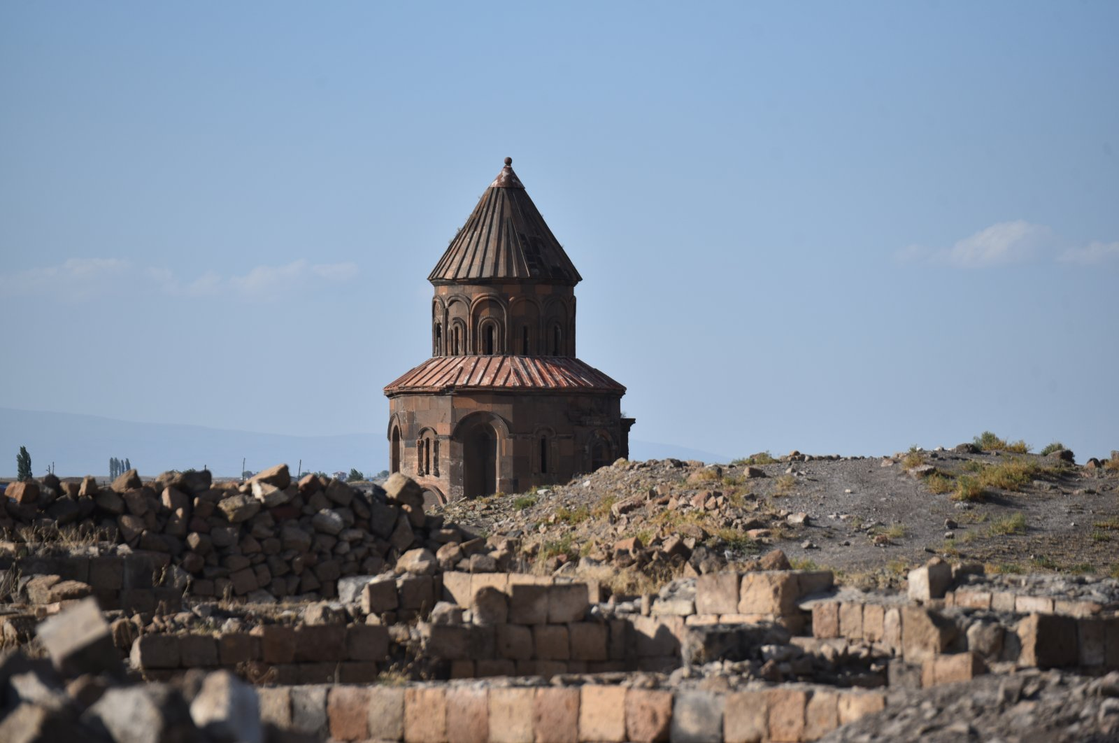 A view from Ani shows St. Gregorius Church, Kars, eastern Turkey, Aug. 7, 2021. (AA Photo)
